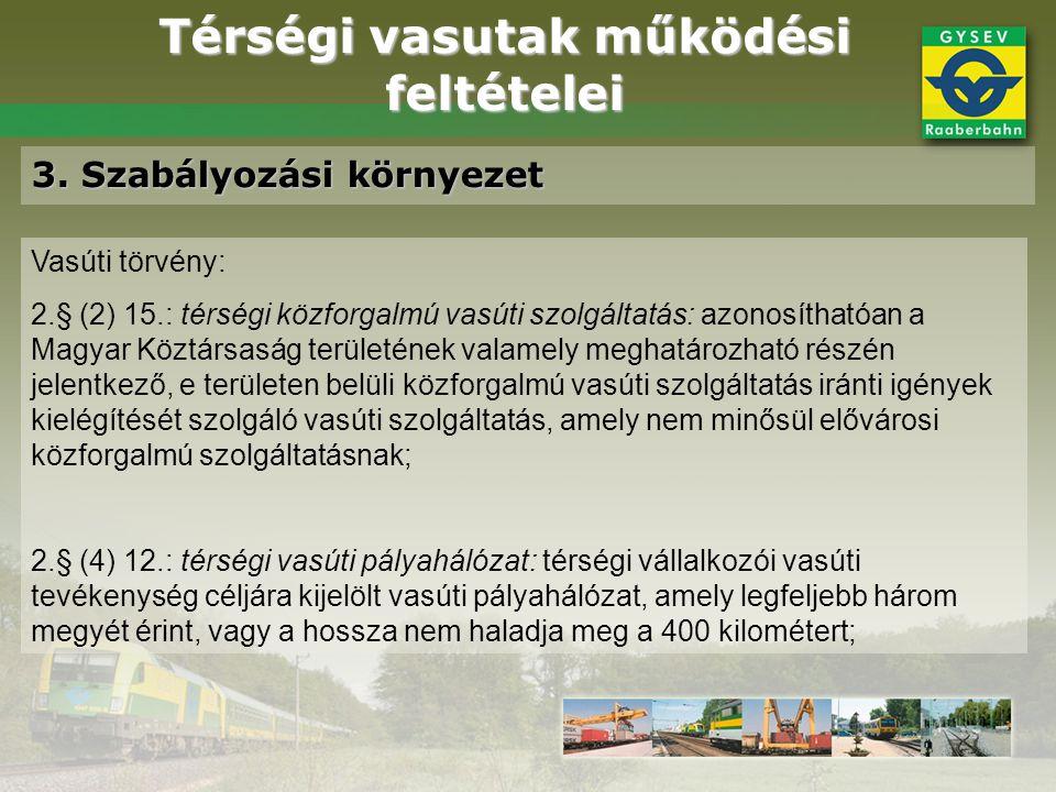 Térségi vasutak működési feltételei 3. Szabályozási környezet Vasúti törvény: 2.§ (2) 15.: térségi közforgalmú vasúti szolgáltatás: azonosíthatóan a M