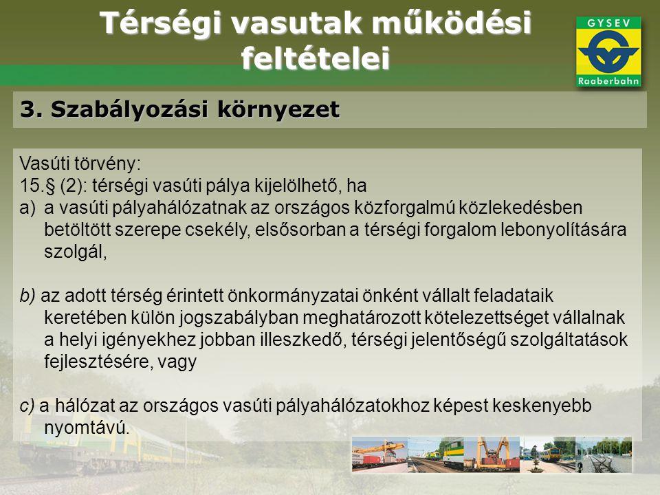 Térségi vasutak működési feltételei 3. Szabályozási környezet Vasúti törvény: 15.§ (2): térségi vasúti pálya kijelölhető, ha a)a vasúti pályahálózatna