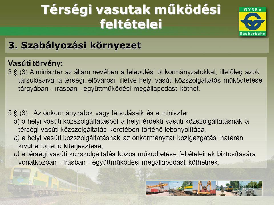 Térségi vasutak működési feltételei 3. Szabályozási környezet Vasúti törvény: 3.§ (3):A miniszter az állam nevében a települési önkormányzatokkal, ill