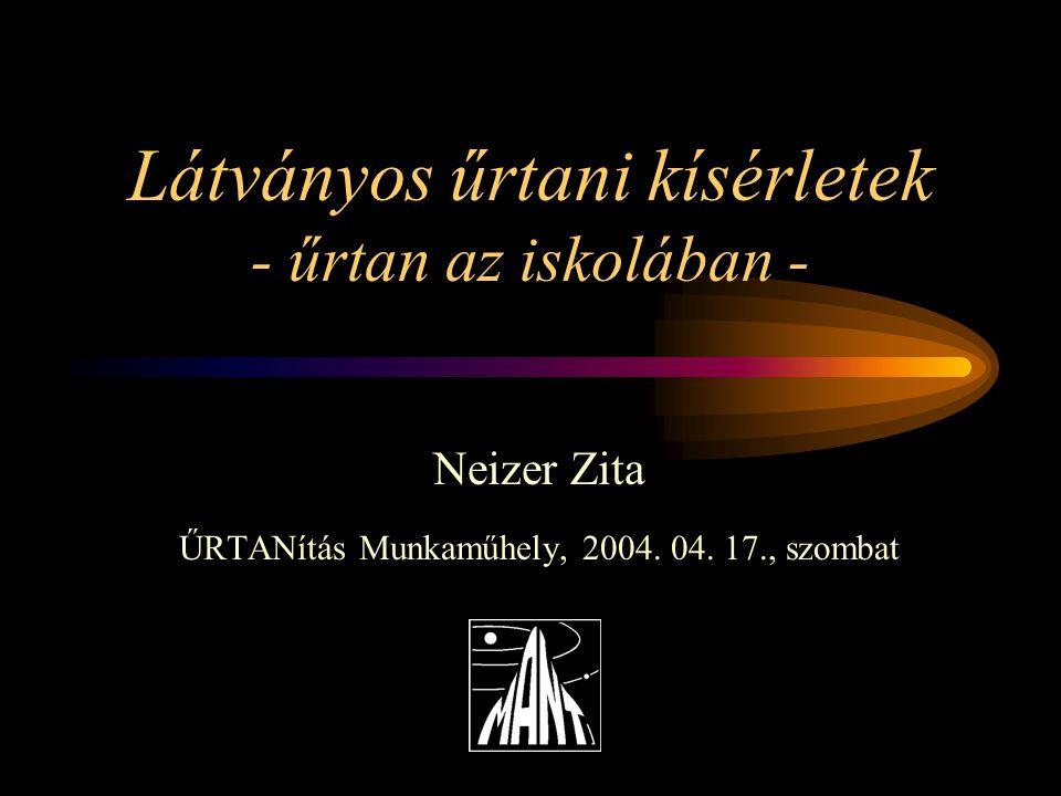 Látványos űrtani kísérletek - űrtan az iskolában - Neizer Zita ŰRTANítás Munkaműhely, 2004.