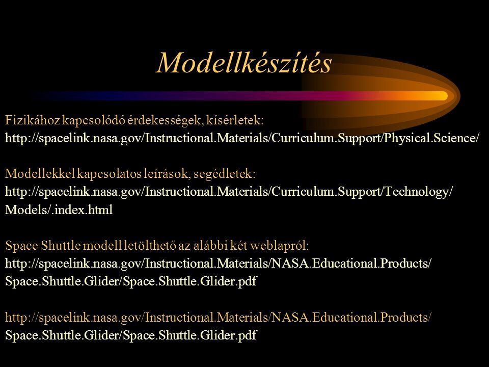 Modellkészítés Fizikához kapcsolódó érdekességek, kísérletek: http://spacelink.nasa.gov/Instructional.Materials/Curriculum.Support/Physical.Science/ Modellekkel kapcsolatos leírások, segédletek: http://spacelink.nasa.gov/Instructional.Materials/Curriculum.Support/Technology/ Models/.index.html Space Shuttle modell letölthető az alábbi két weblapról: http://spacelink.nasa.gov/Instructional.Materials/NASA.Educational.Products/ Space.Shuttle.Glider/Space.Shuttle.Glider.pdf http://spacelink.nasa.gov/Instructional.Materials/NASA.Educational.Products/ Space.Shuttle.Glider/Space.Shuttle.Glider.pdf
