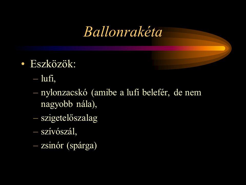 Ballonrakéta Eszközök: –lufi, –nylonzacskó (amibe a lufi belefér, de nem nagyobb nála), –szigetelőszalag –szívószál, –zsinór (spárga)