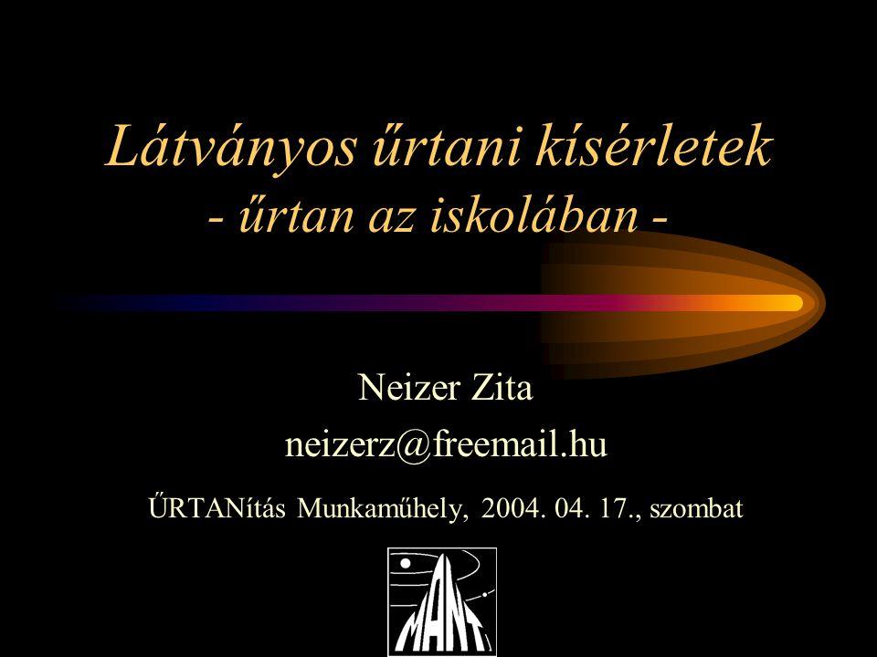 Látványos űrtani kísérletek - űrtan az iskolában - Neizer Zita neizerz@freemail.hu ŰRTANítás Munkaműhely, 2004.