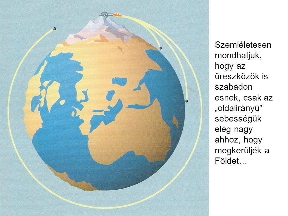 """Szemléletesen mondhatjuk, hogy az űreszközök is szabadon esnek, csak az """"oldalirányú"""" sebességük elég nagy ahhoz, hogy megkerüljék a Földet…"""