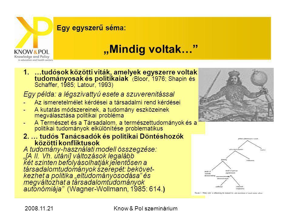 """2008.11.21Know & Pol szeminárium Egy egyszerű séma: """"Mindig voltak… 1.…tudósok közötti viták, amelyek egyszerre voltak tudományosak és politikaiak ( Bloor, 1976; Shapin és Schaffer, 1985; Latour, 1993) Egy példa: a légszivattyú esete a szuverenitással -Az ismeretelmélet kérdései a társadalmi rend kérdései -A kutatás módszereinek, a tudomány eszközeinek megválasztása politikai probléma -A Természet és a Társadalom, a természettudományok és a politikai tudományok elkülönítése problematikus 2."""