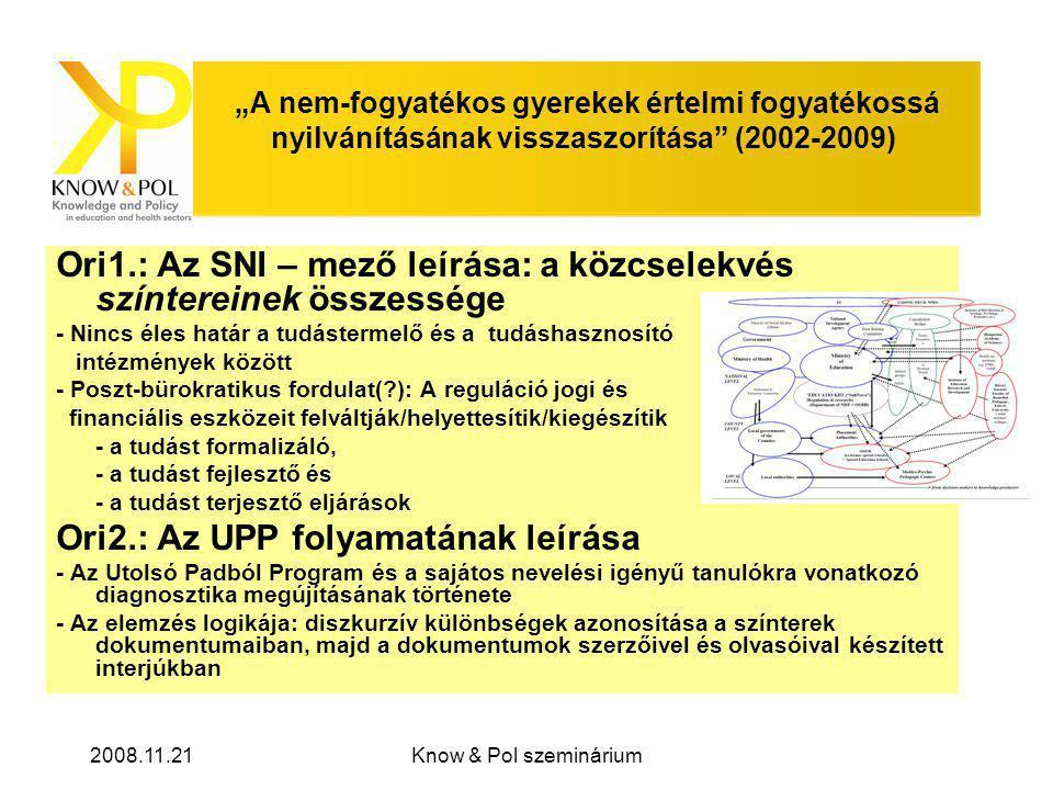 """2008.11.21Know & Pol szeminárium """"A nem-fogyatékos gyerekek értelmi fogyatékossá nyilvánításának visszaszorítása (2002-2009) Ori1.: Az SNI – mező leírása: a közcselekvés színtereinek összessége - Nincs éles határ a tudástermelő és a tudáshasznosító intézmények között - Poszt-bürokratikus fordulat( ): A reguláció jogi és financiális eszközeit felváltják/helyettesítik/kiegészítik - a tudást formalizáló, - a tudást fejlesztő és - a tudást terjesztő eljárások Ori2.: Az UPP folyamatának leírása - Az Utolsó Padból Program és a sajátos nevelési igényű tanulókra vonatkozó diagnosztika megújításának története - Az elemzés logikája: diszkurzív különbségek azonosítása a színterek dokumentumaiban, majd a dokumentumok szerzőivel és olvasóival készített interjúkban"""