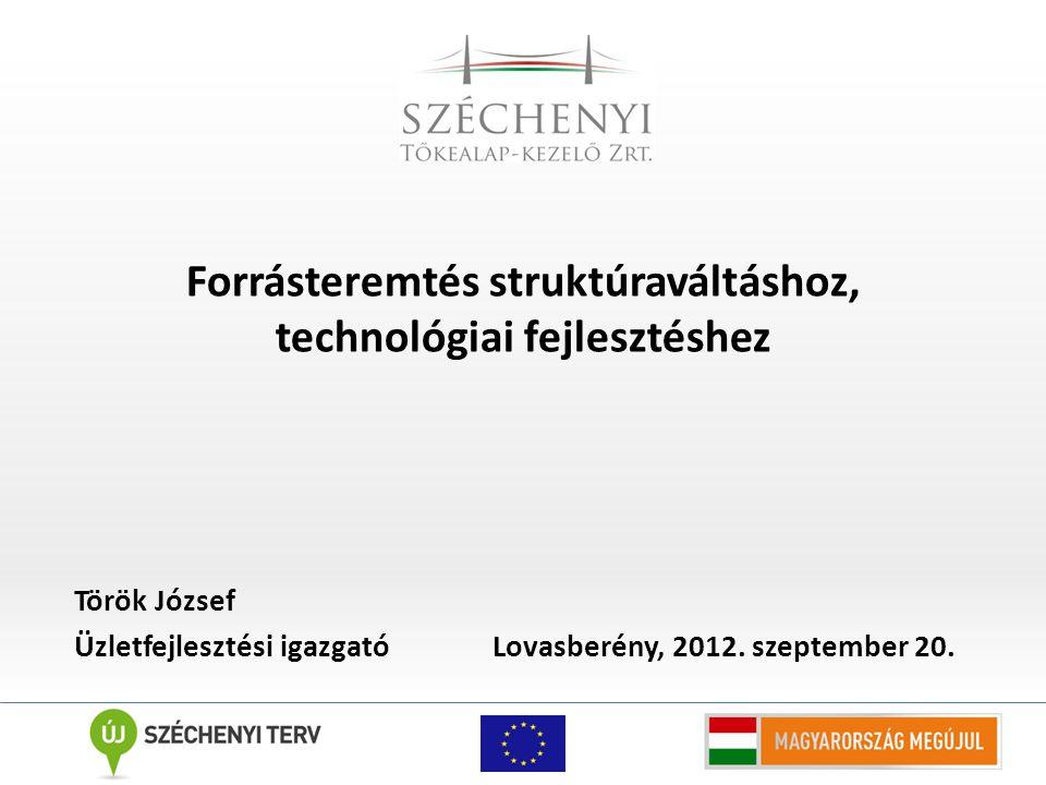 Forrásteremtés struktúraváltáshoz, technológiai fejlesztéshez Török József Üzletfejlesztési igazgató Lovasberény, 2012.