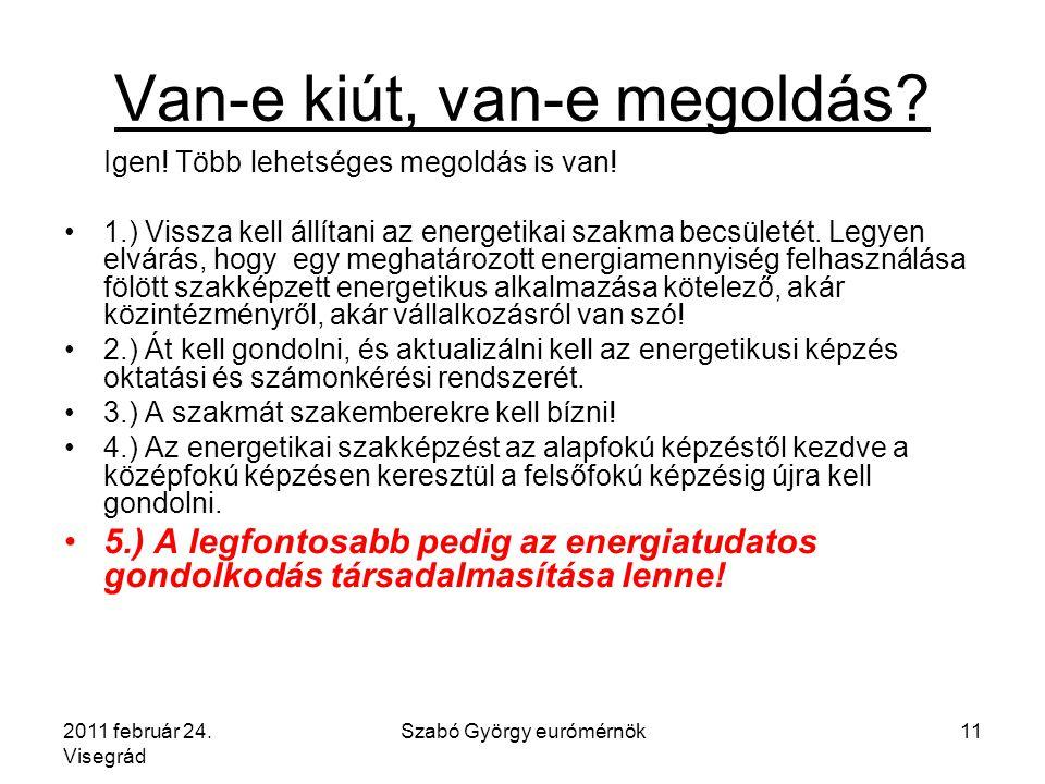 2011 február 24. Visegrád Szabó György eurómérnök11 Van-e kiút, van-e megoldás.
