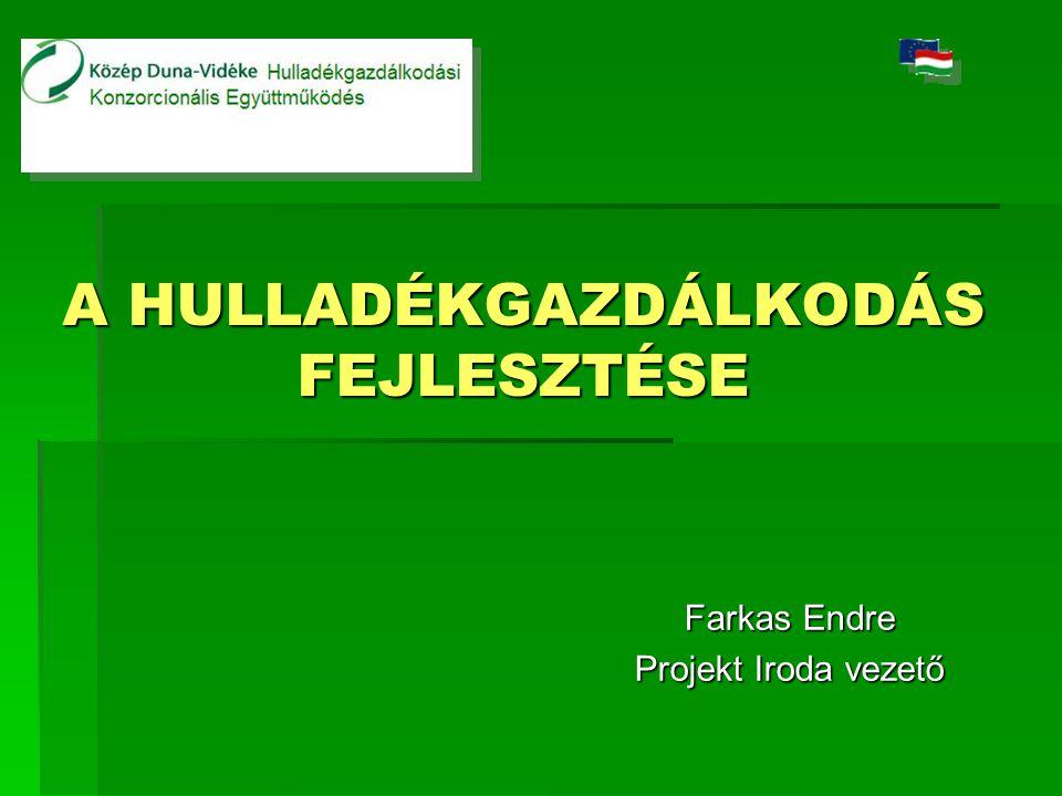 A HULLADÉKGAZDÁLKODÁS FEJLESZTÉSE Farkas Endre Projekt Iroda vezető