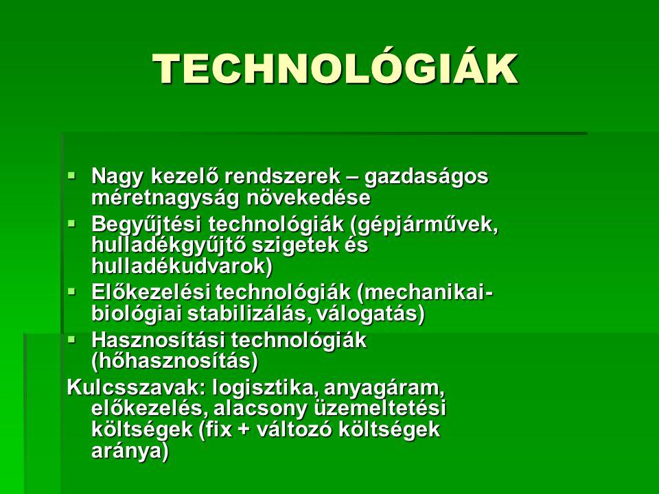 TECHNOLÓGIÁK  Nagy kezelő rendszerek – gazdaságos méretnagyság növekedése  Begyűjtési technológiák (gépjárművek, hulladékgyűjtő szigetek és hulladék