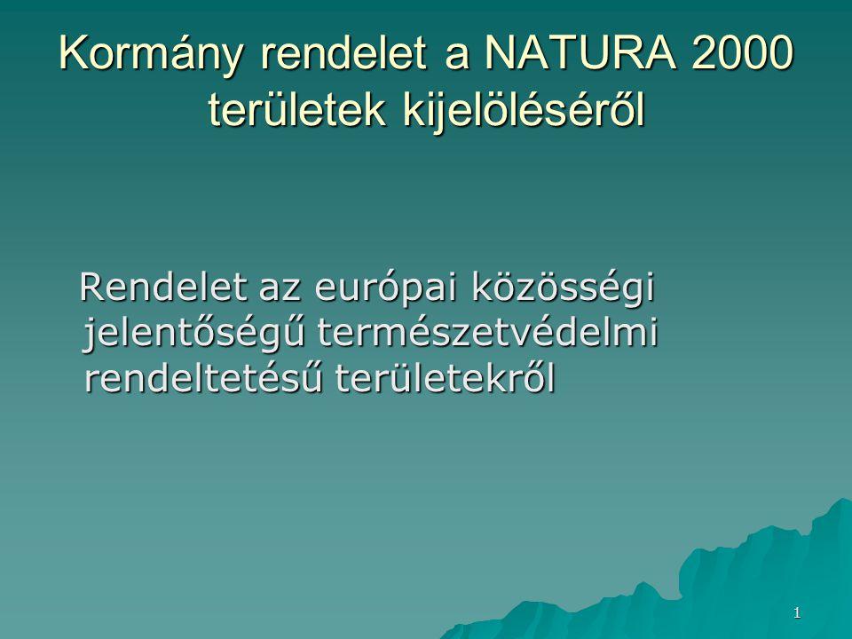 22 NATURA 2000 Természetvédelmi területek