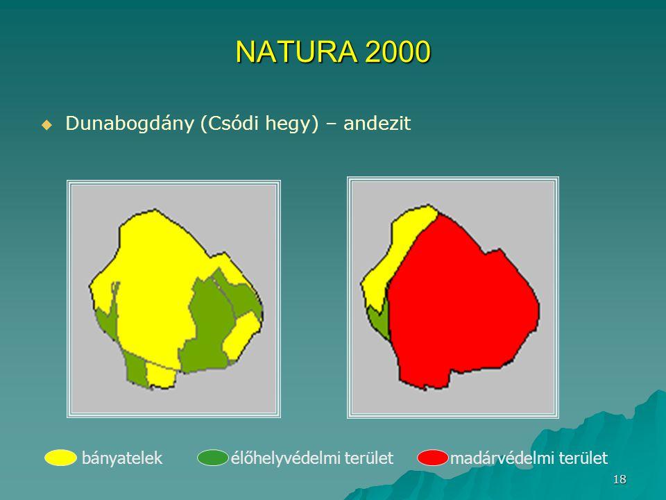 18 NATURA 2000   Dunabogdány (Csódi hegy) – andezit bányatelek élőhelyvédelmi terület madárvédelmi terület