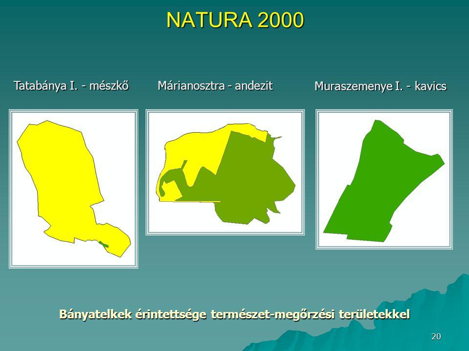 20 Muraszemenye I. - kavics Márianosztra - andezit Tatabánya I. - mészkő Bányatelkek érintettsége természet-megőrzési területekkel NATURA 2000