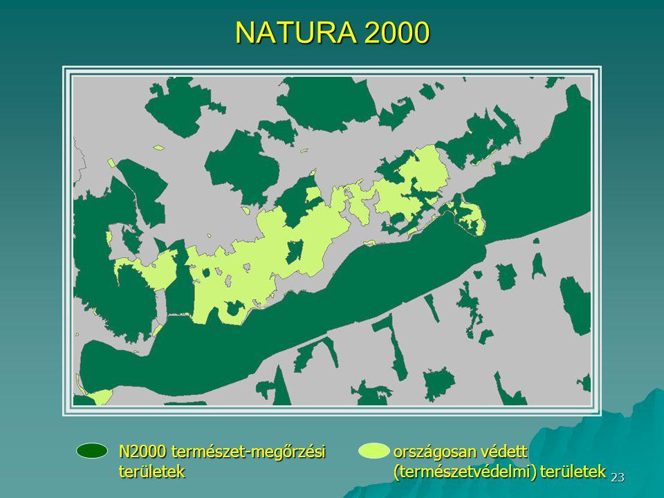 23 NATURA 2000 N2000 természet-megőrzési területek országosan védett (természetvédelmi) területek