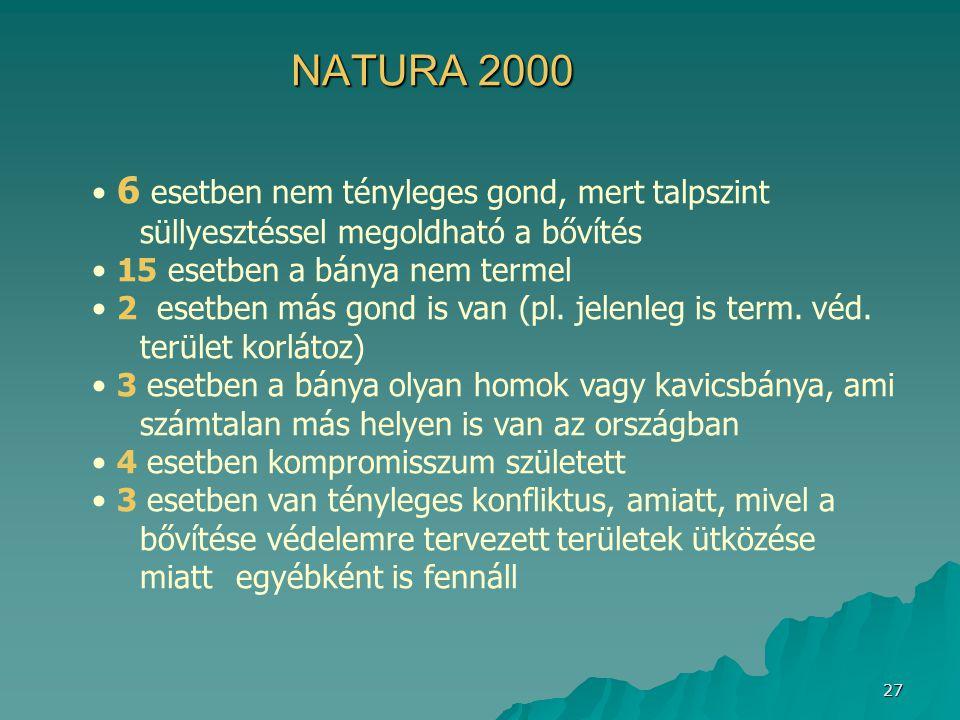 27 NATURA 2000 6 esetben nem tényleges gond, mert talpszint süllyesztéssel megoldható a bővítés 15 esetben a bánya nem termel 2 esetben más gond is va