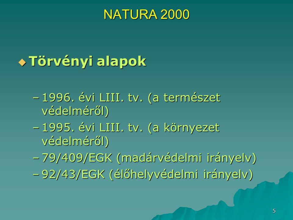5 NATURA 2000  Törvényi alapok –1996. évi LIII. tv. (a természet védelméről) –1995. évi LIII. tv. (a környezet védelméről) –79/409/EGK (madárvédelmi