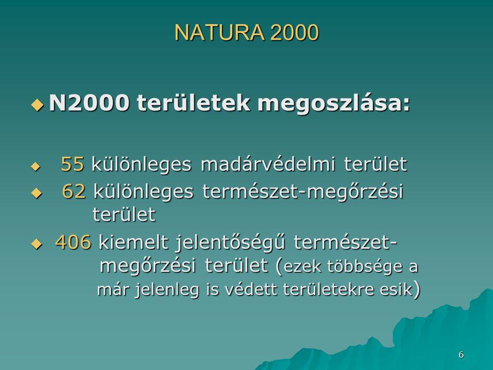 6 NATURA 2000  N2000 területek megoszlása:  55 különleges madárvédelmi terület  62 különleges természet-megőrzési terület  406 kiemelt jelentőségű