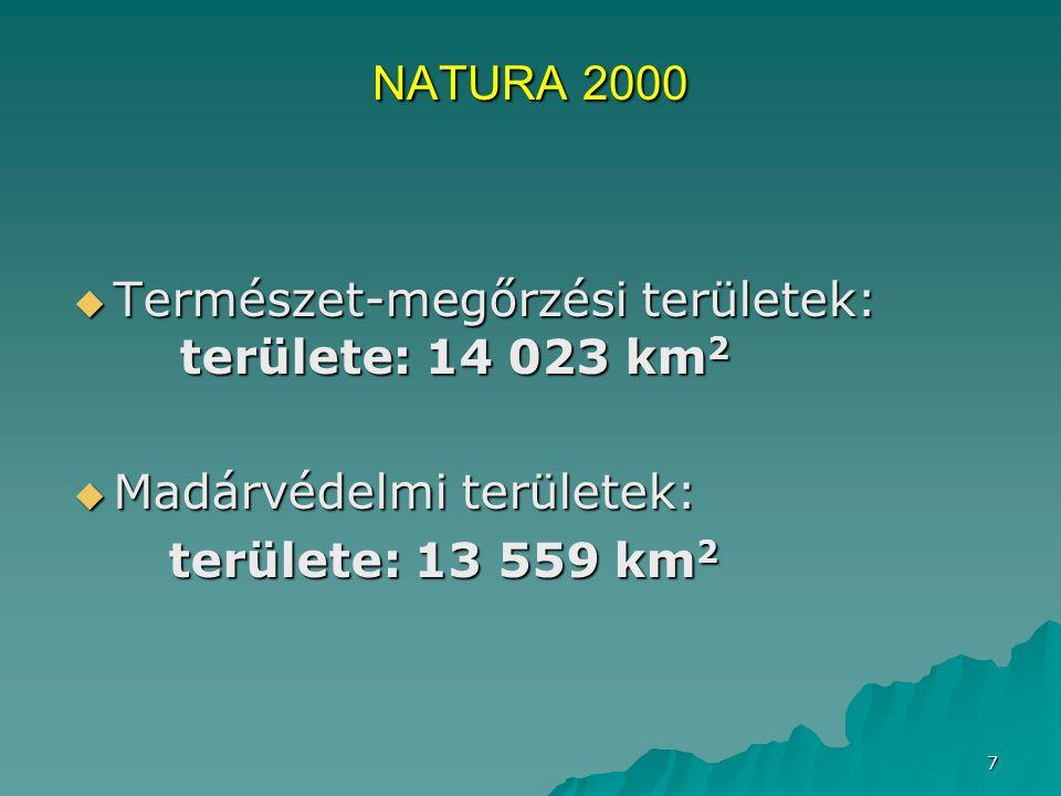 7  Természet-megőrzési területek: területe: 14 023 km 2  Madárvédelmi területek: területe: 13 559 km 2 területe: 13 559 km 2 NATURA 2000