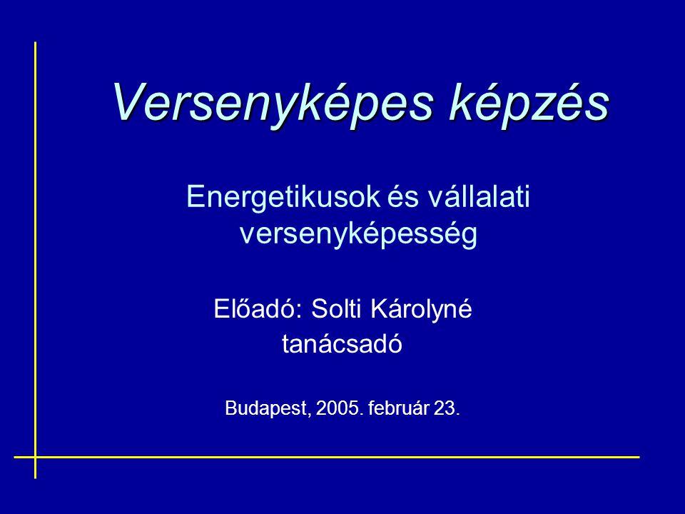 Versenyképes képzés Versenyképes képzés Energetikusok és vállalati versenyképesség Előadó: Solti Károlyné tanácsadó Budapest, 2005.