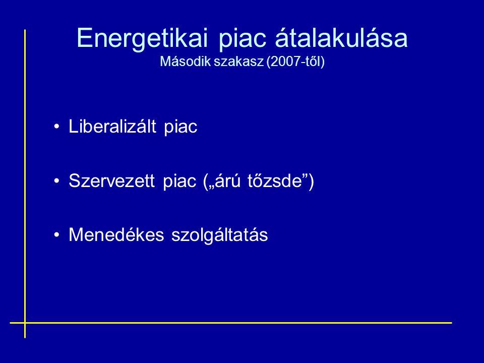 """Energetikai piac átalakulása Második szakasz (2007-től) Liberalizált piac Szervezett piac (""""árú tőzsde ) Menedékes szolgáltatás"""