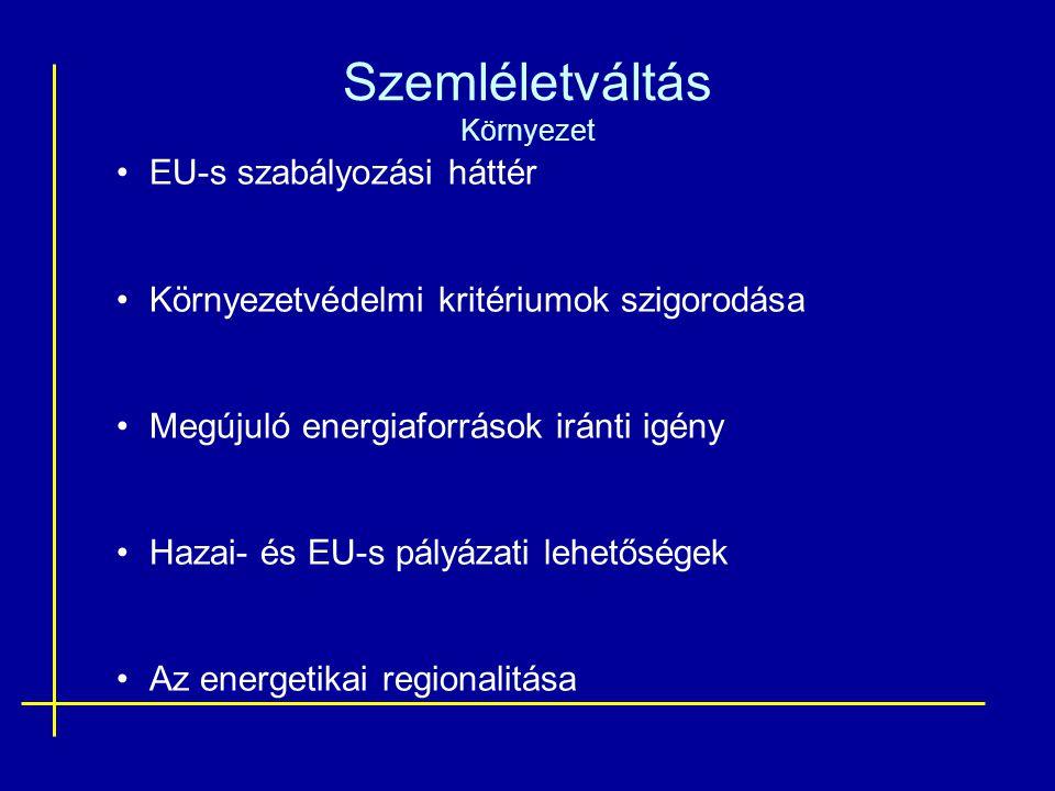 Szemléletváltás Környezet EU-s szabályozási háttér Környezetvédelmi kritériumok szigorodása Megújuló energiaforrások iránti igény Hazai- és EU-s pályázati lehetőségek Az energetikai regionalitása