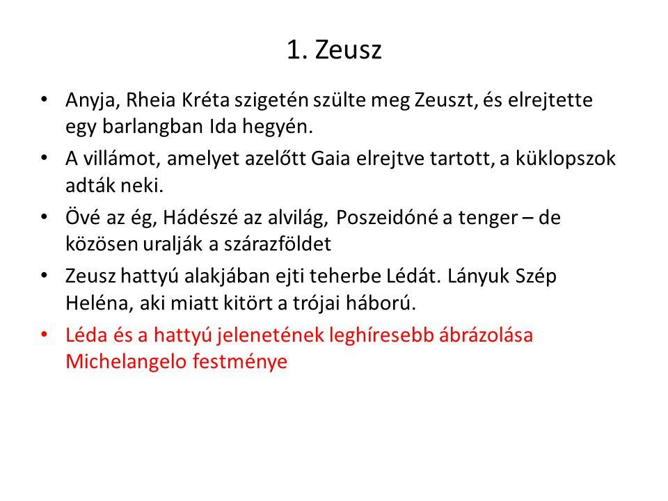 1. Zeusz Anyja, Rheia Kréta szigetén szülte meg Zeuszt, és elrejtette egy barlangban Ida hegyén. A villámot, amelyet azelőtt Gaia elrejtve tartott, a
