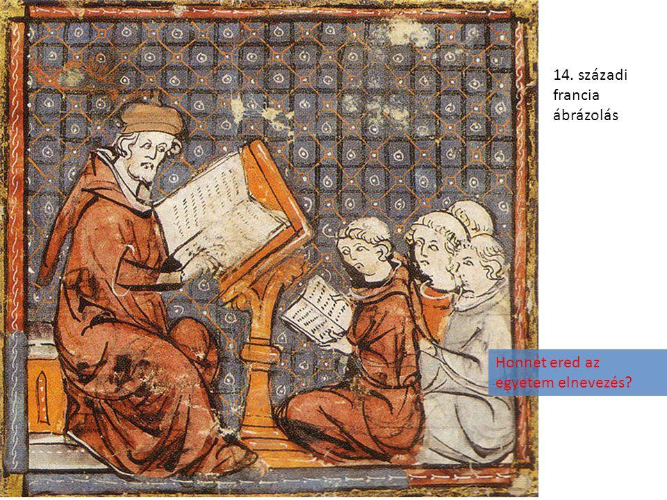 14. századi francia ábrázolás Honnét ered az egyetem elnevezés?