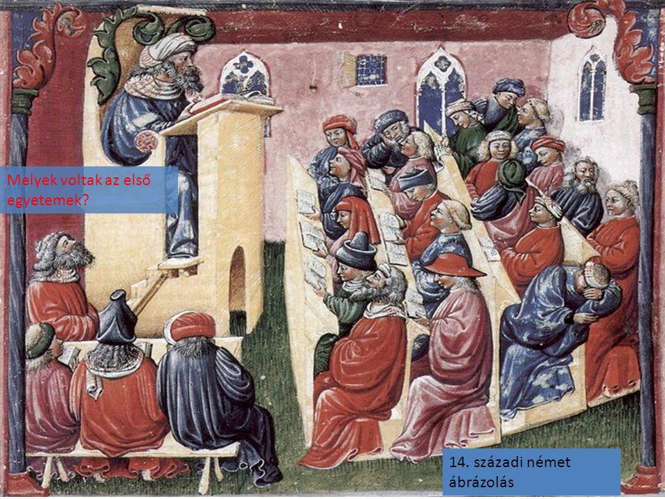 14. századi német ábrázolás Melyek voltak az első egyetemek?