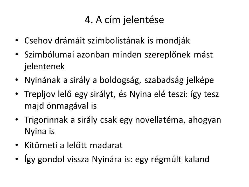 4. A cím jelentése Csehov drámáit szimbolistának is mondják Szimbólumai azonban minden szereplőnek mást jelentenek Nyinának a sirály a boldogság, szab