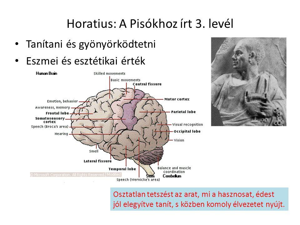 Horatius: A Pisókhoz írt 3. levél Tanítani és gyönyörködtetni Eszmei és esztétikai érték Osztatlan tetszést az arat, mi a hasznosat, édest jól elegyít