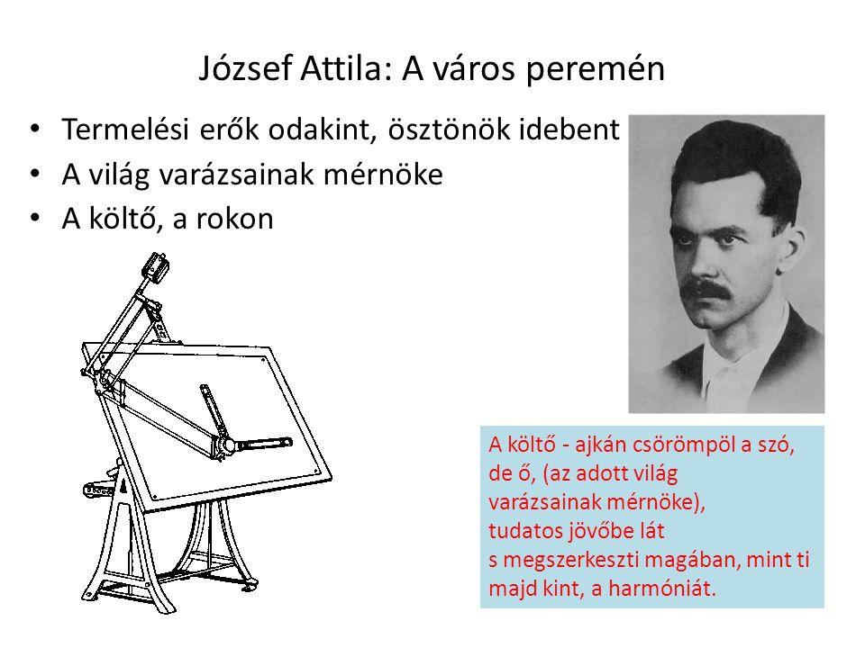 József Attila: A város peremén Termelési erők odakint, ösztönök idebent A világ varázsainak mérnöke A költő, a rokon A költő - ajkán csörömpöl a szó,