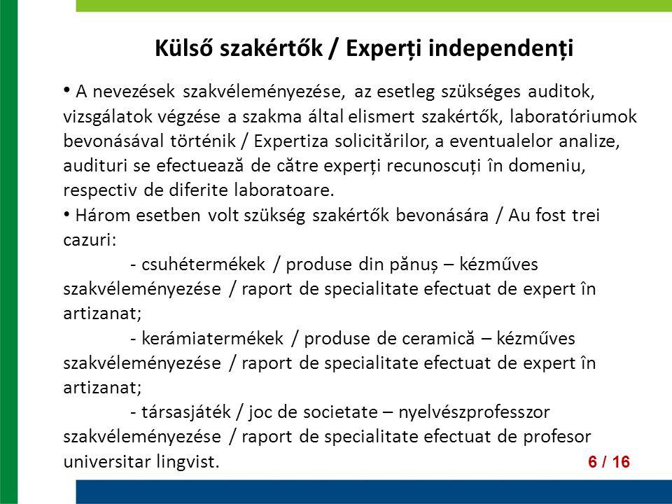 Külső szakértők / Experți independenți A nevezések szakvéleményezése, az esetleg szükséges auditok, vizsgálatok végzése a szakma által elismert szakértők, laboratóriumok bevonásával történik / Expertiza solicitărilor, a eventualelor analize, audituri se efectuează de către experți recunoscuți în domeniu, respectiv de diferite laboratoare.
