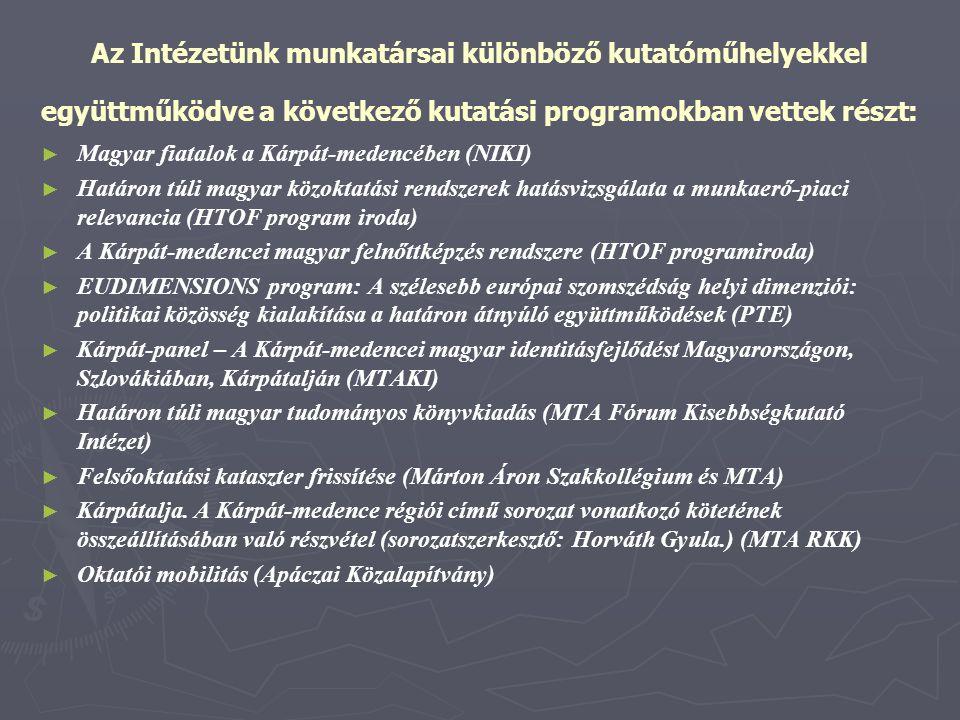 Az Intézetünk munkatársai különböző kutatóműhelyekkel együttműködve a következő kutatási programokban vettek részt: ► ► Magyar fiatalok a Kárpát-meden