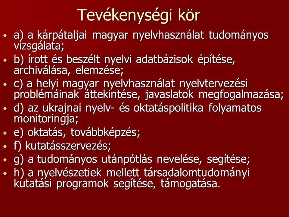 Tevékenységi kör a) a kárpátaljai magyar nyelvhasználat tudományos vizsgálata; a) a kárpátaljai magyar nyelvhasználat tudományos vizsgálata; b) írott