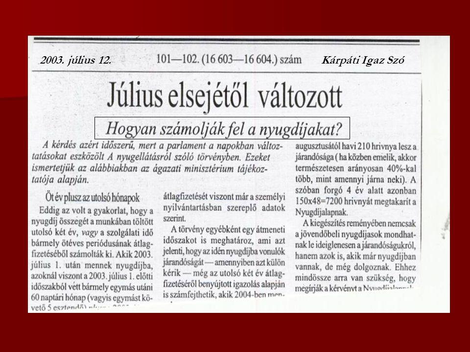 Kárpáti Igaz Szó2003. július 12.