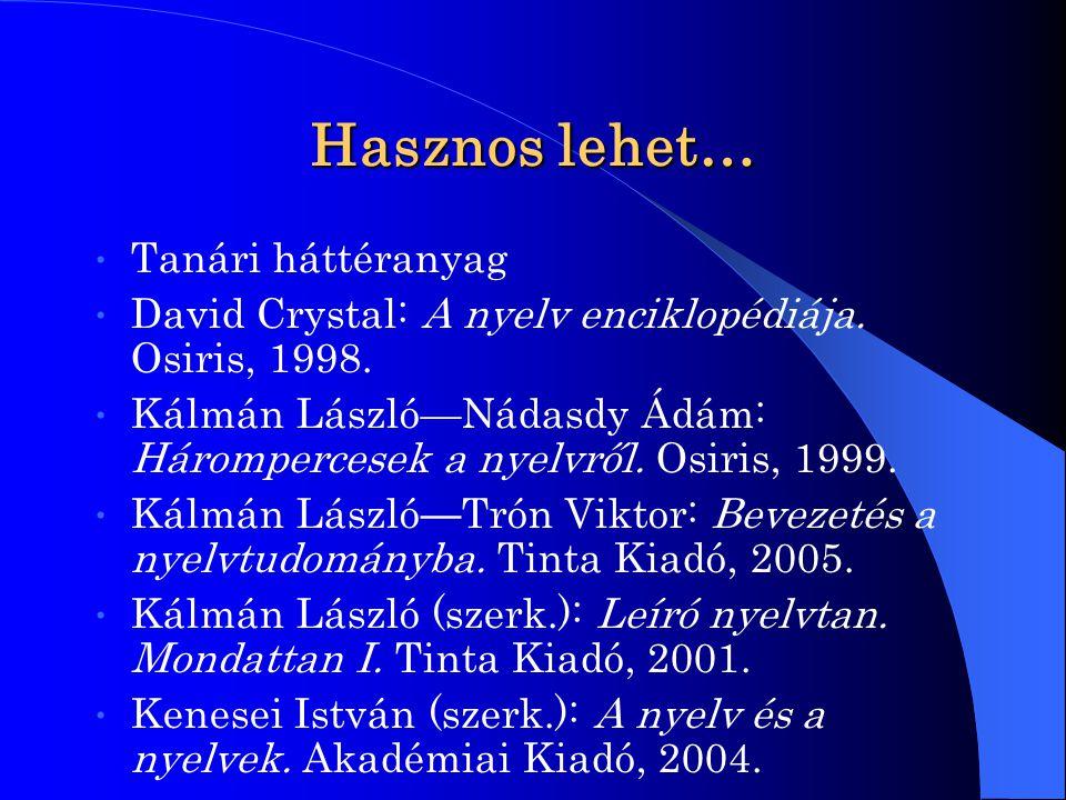 Hasznos lehet… Tanári háttéranyag David Crystal: A nyelv enciklopédiája. Osiris, 1998. Kálmán László—Nádasdy Ádám: Hárompercesek a nyelvről. Osiris, 1
