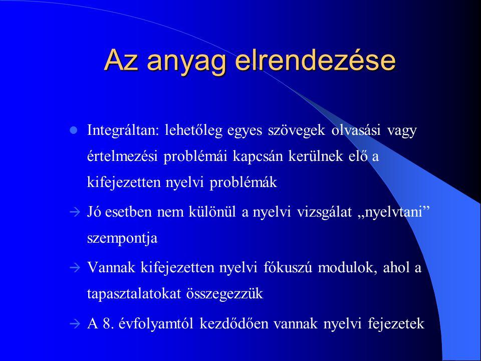 """Az anyag elrendezése Integráltan: lehetőleg egyes szövegek olvasási vagy értelmezési problémái kapcsán kerülnek elő a kifejezetten nyelvi problémák  Jó esetben nem különül a nyelvi vizsgálat """"nyelvtani szempontja  Vannak kifejezetten nyelvi fókuszú modulok, ahol a tapasztalatokat összegezzük  A 8."""
