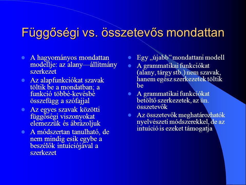 Függőségi vs. összetevős mondattan A hagyományos mondattan modellje: az alany—állítmány szerkezet Az alapfunkciókat szavak töltik be a mondatban; a fu