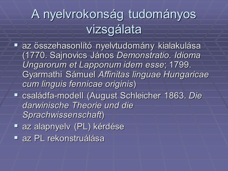 """A nyelvrokonság és a """"hasonlóság  A nyelvi hasonlóság okai  genetikai  areális  tipológiai  elemi  véletlen"""