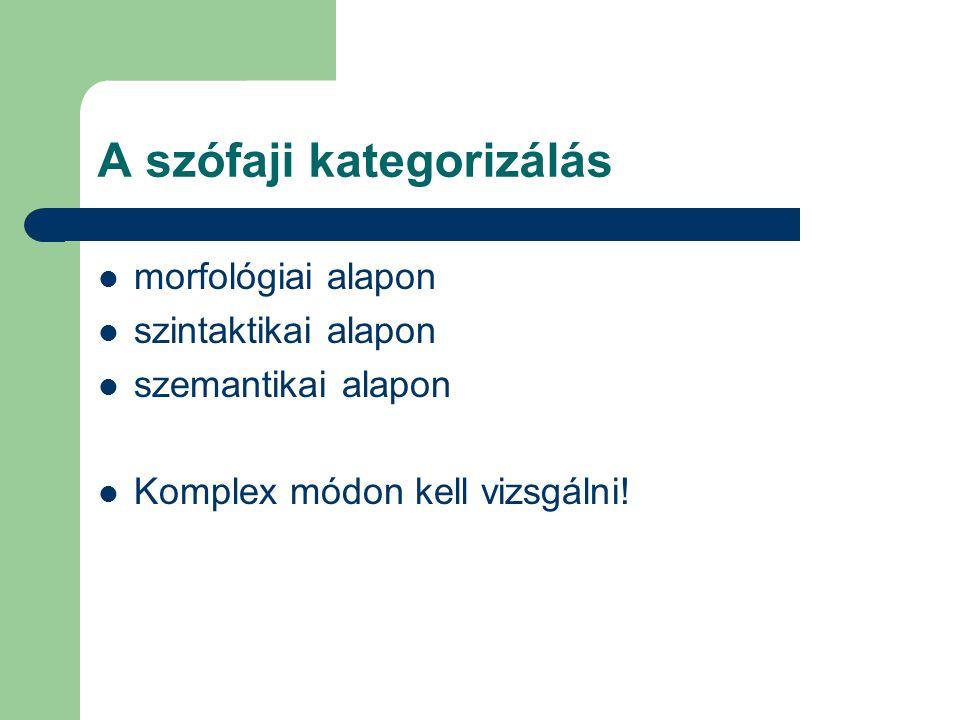 A szófaji kategorizálás morfológiai alapon szintaktikai alapon szemantikai alapon Komplex módon kell vizsgálni!