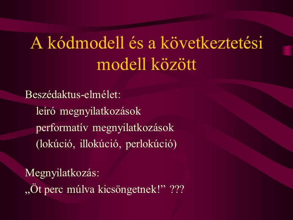 """A kódmodell és a következtetési modell között Beszédaktus-elmélet: leíró megnyilatkozások performatív megnyilatkozások (lokúció, illokúció, perlokúció) Megnyilatkozás: """"Öt perc múlva kicsöngetnek! ???"""