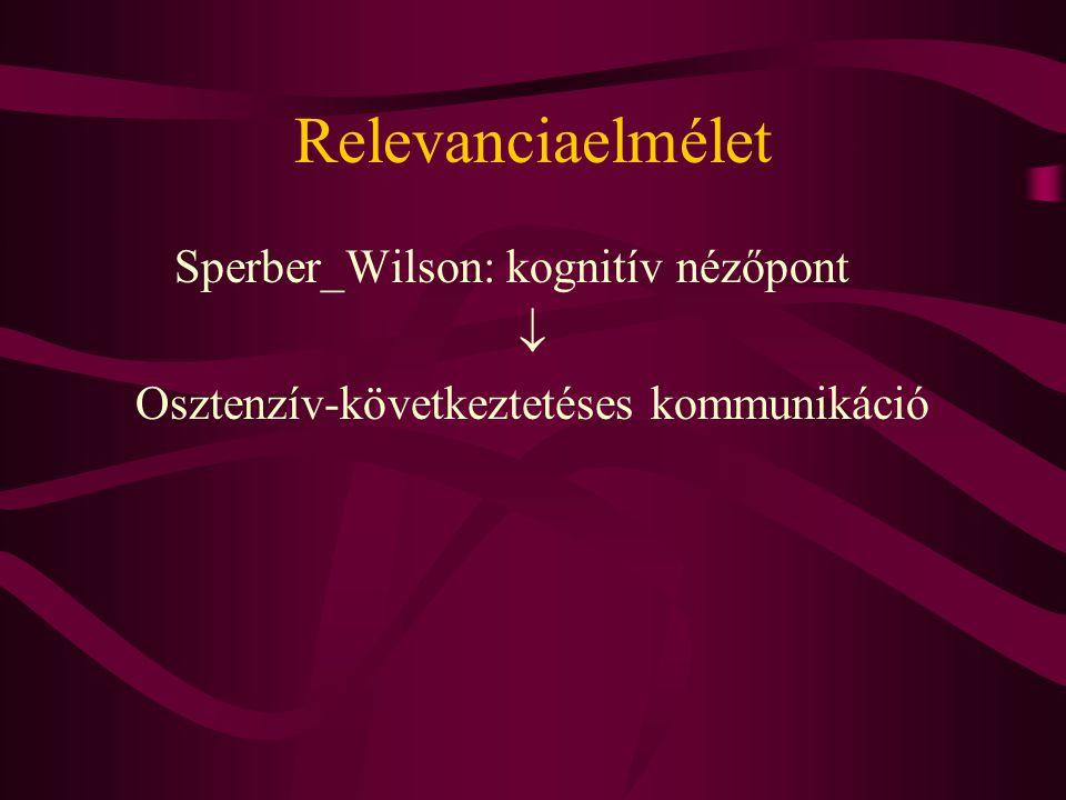Relevanciaelmélet Sperber_Wilson: kognitív nézőpont  Osztenzív-következtetéses kommunikáció