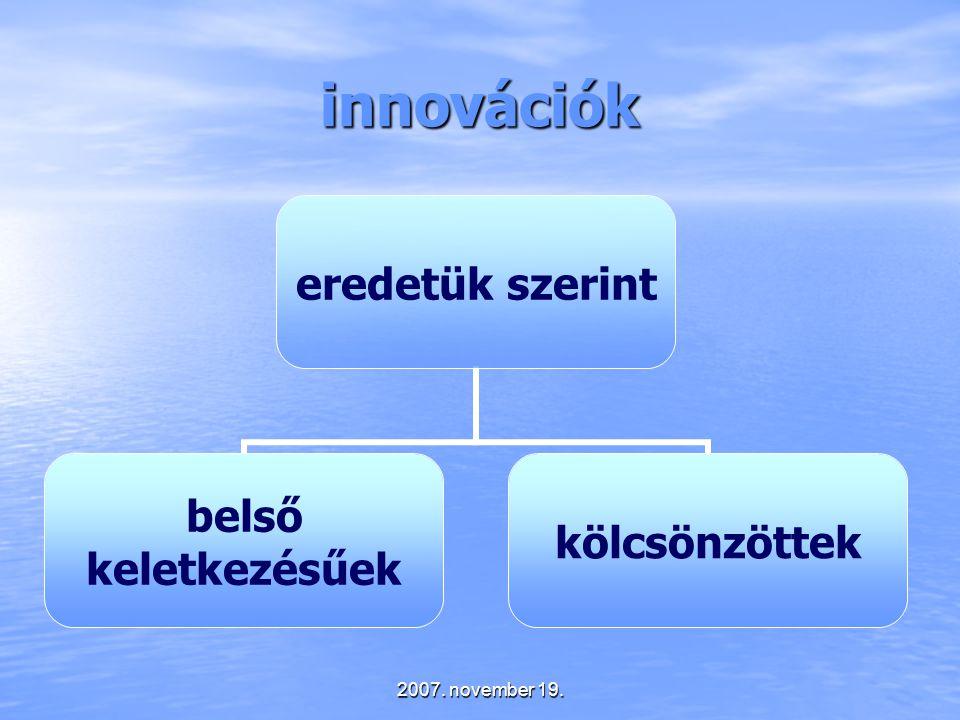 2007. november 19. innovációk eredetük szerint belső keletkezésűek kölcsönzöttek
