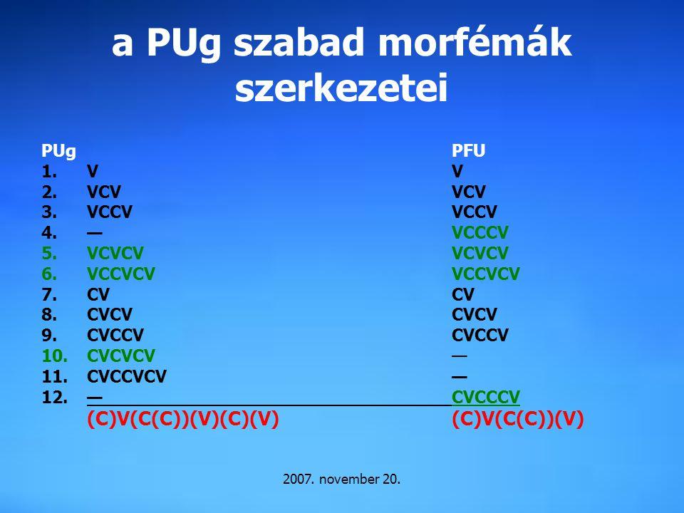 2007. november 20. a PUg szabad morfémák szerkezetei PUgPFU 1.VV 2.VCVVCV 3.VCCVVCCV 4.—VCCCV 5.VCVCVVCVCV 6.VCCVCVVCCVCV 7.CVCV 8.CVCVCVCV 9.CVCCVCVC