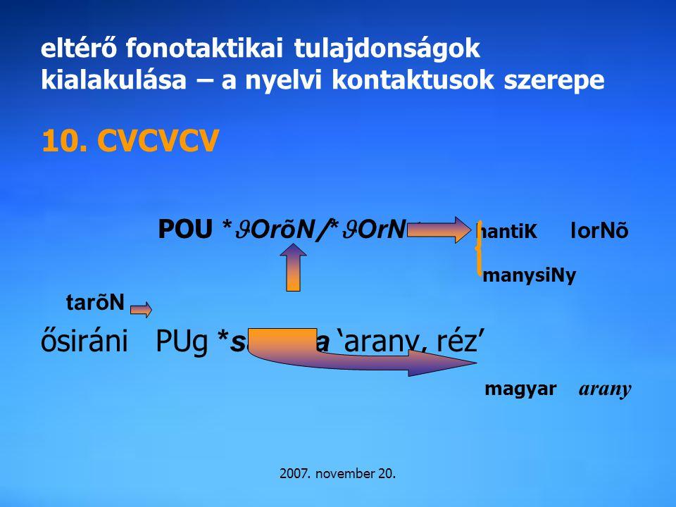 2007. november 20. eltérő fonotaktikai tulajdonságok kialakulása – a nyelvi kontaktusok szerepe 10. CVCVCV POU * OrõN / * OrN< hantiK lorNõ manysiNy t