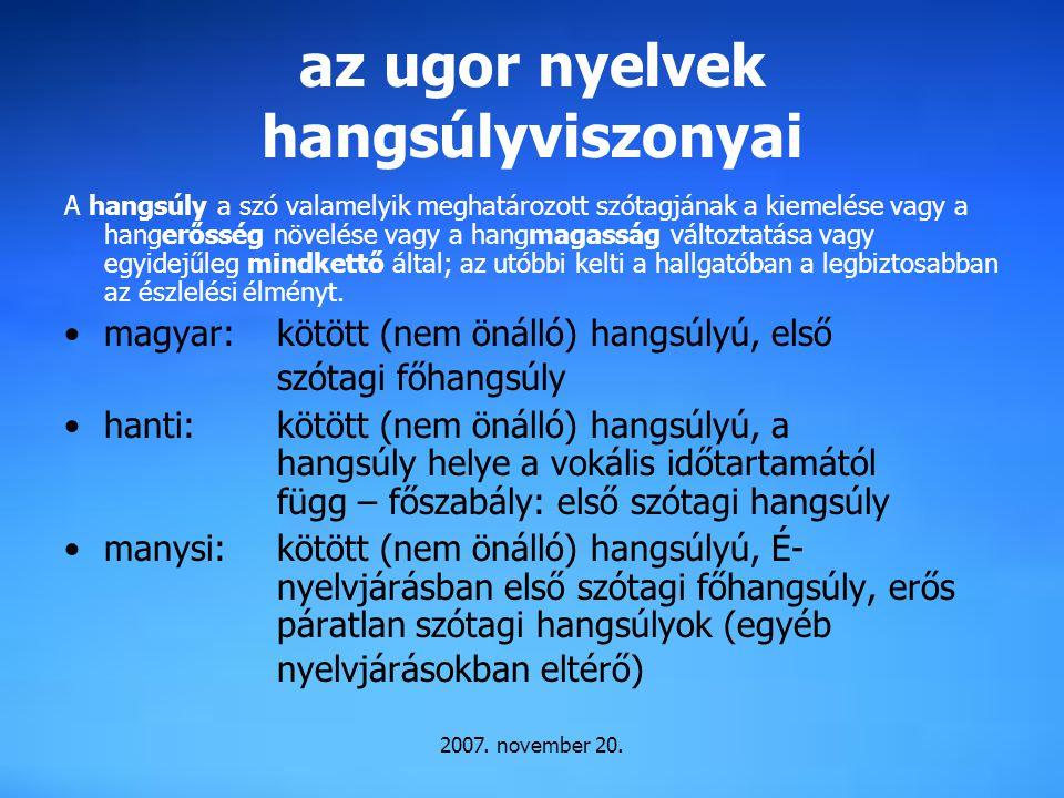 az ugor nyelvek hangsúlyviszonyai A hangsúly a szó valamelyik meghatározott szótagjának a kiemelése vagy a hangerősség növelése vagy a hangmagasság vá
