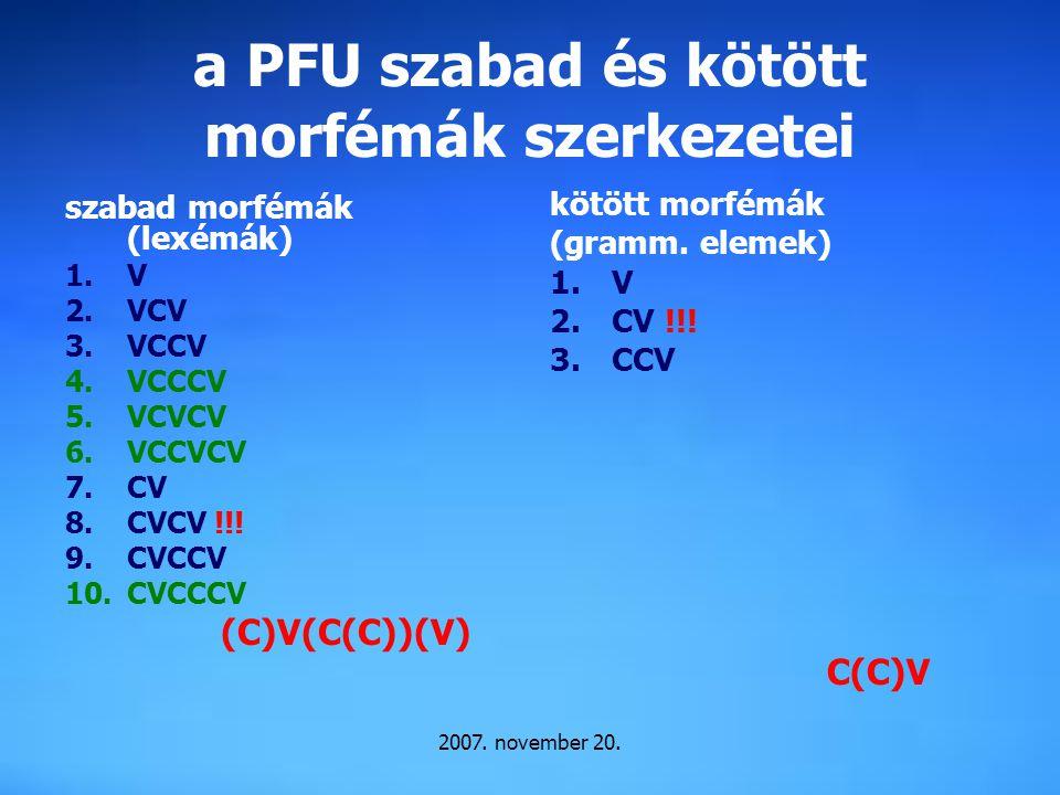 2007. november 20. a PFU szabad és kötött morfémák szerkezetei szabad morfémák (lexémák) 1.V 2.VCV 3.VCCV 4.VCCCV 5.VCVCV 6.VCCVCV 7.CV 8.CVCV !!! 9.C