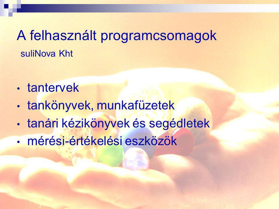 A felhasznált programcsomagok suliNova Kht tantervek tankönyvek, munkafüzetek tanári kézikönyvek és segédletek mérési-értékelési eszközök
