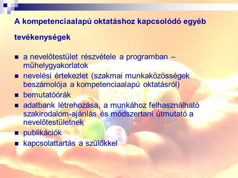 A kompetenciaalapú oktatáshoz kapcsolódó egyéb tevékenységek a nevelőtestület részvétele a programban – műhelygyakorlatok nevelési értekezlet (szakmai