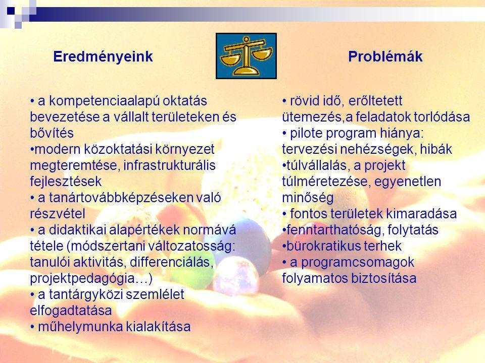 a kompetenciaalapú oktatás bevezetése a vállalt területeken és bővítés modern közoktatási környezet megteremtése, infrastrukturális fejlesztések a tan